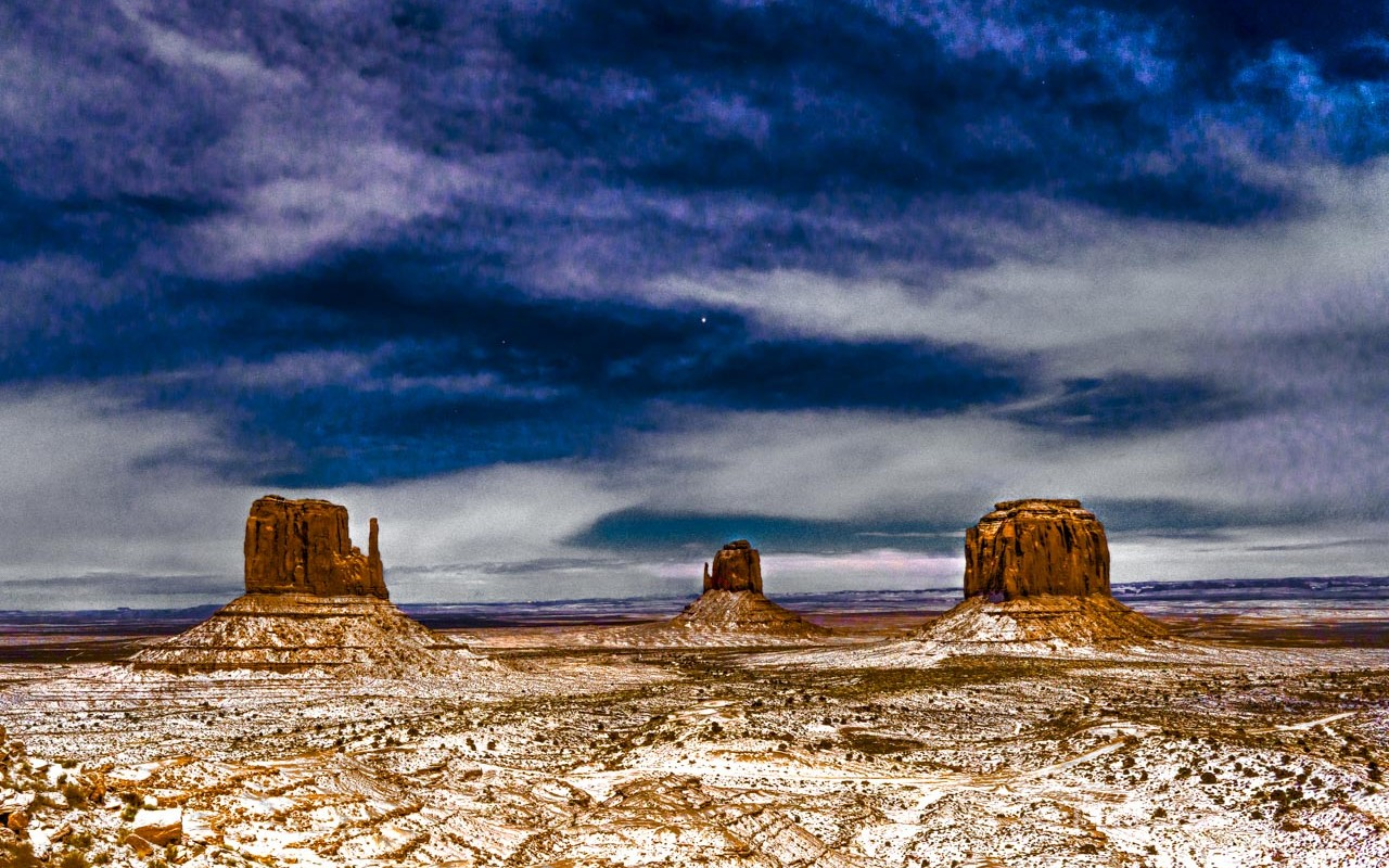 Moonlit Monument Valley Snow